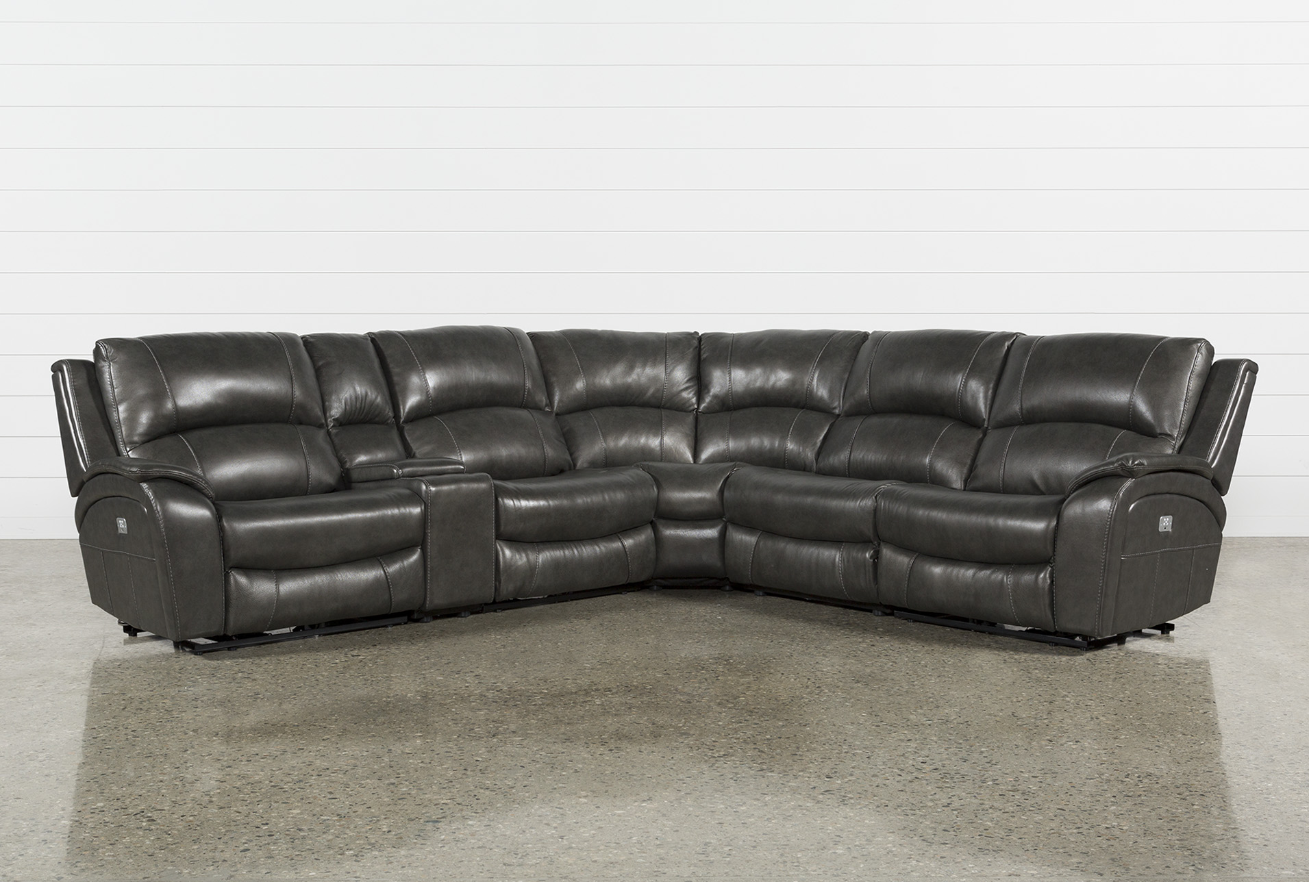 Travis Dk Grey Leather 6 Piece Power Reclining Sectional W/Pwr Hdrst