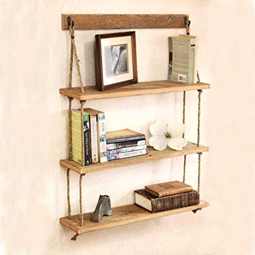Amazon.com: Hanging Reclaimed Wood Rope Shelf - Three Tier Shelf