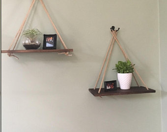Rustic hanging shelf | Etsy