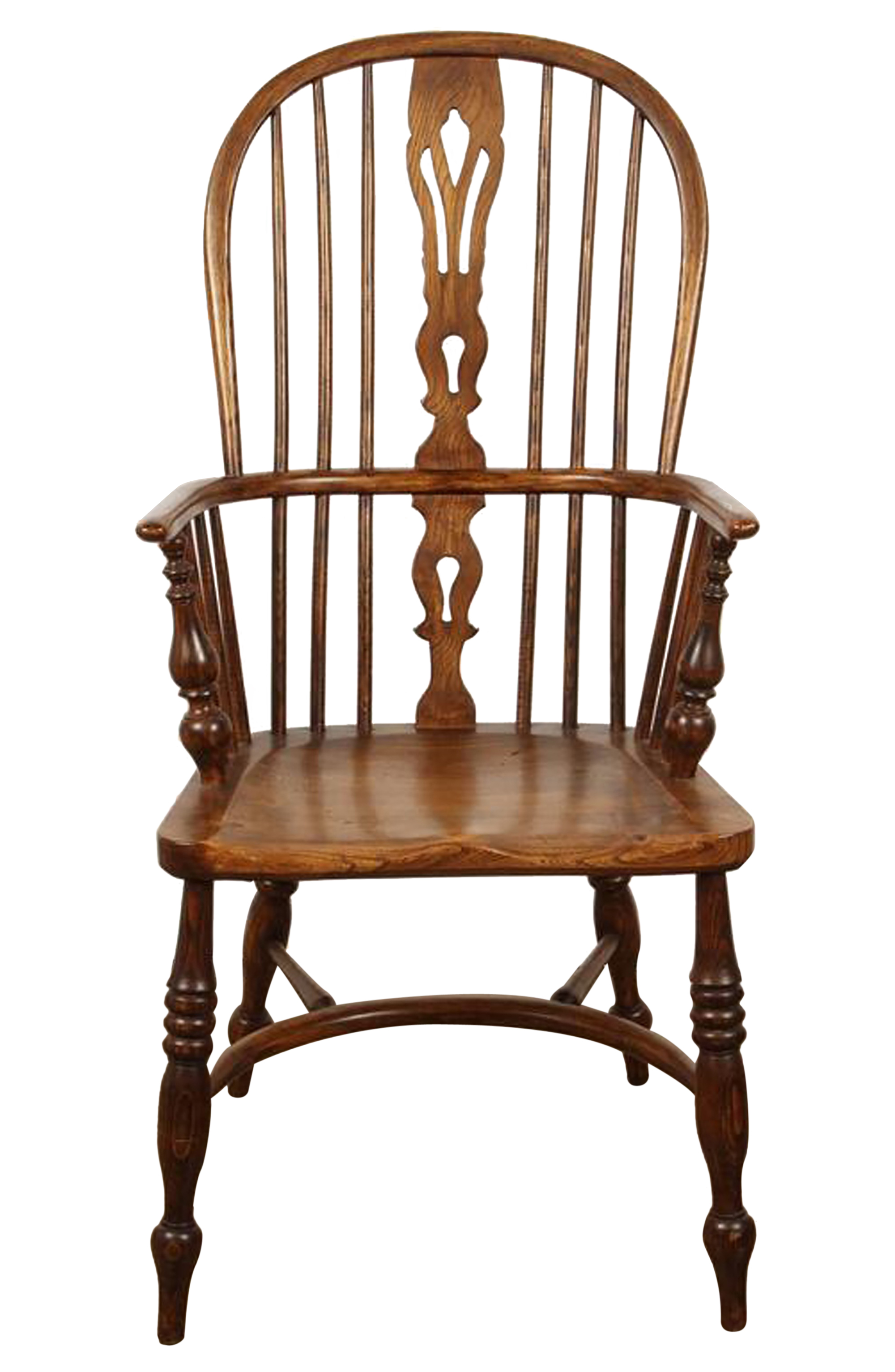 English Yew High Back Chair - Folk Art Traditional Armchairs & Club