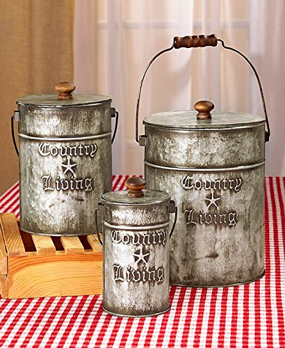 Amazon.com: Country Living Set of 3 Canisters Home Accent: Kitchen