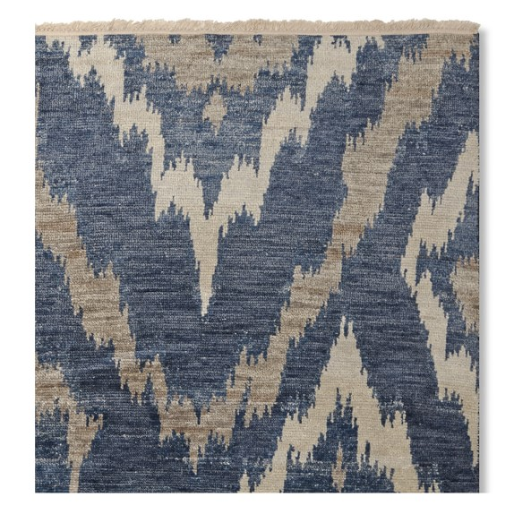 River Ikat Hand Knotted Rug, Blue/Grey | Williams Sonoma