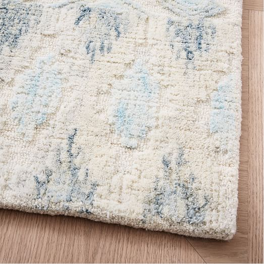 Textured Ikat Wool Rug - Light Pool | west elm