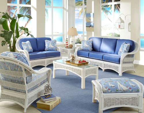 White Rattan and Wicker Living Room Furniture Sets | Living Room