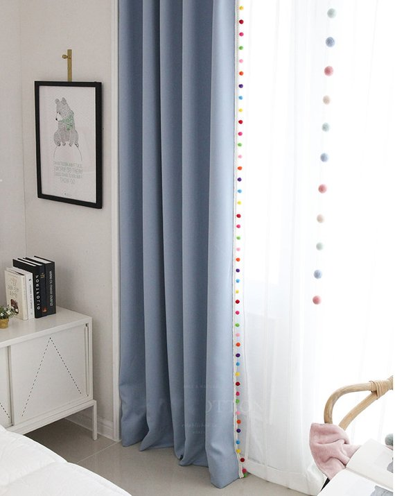 Pom Pom Blackout Curtains in 5 Colors Kids Blackout Curtains | Etsy