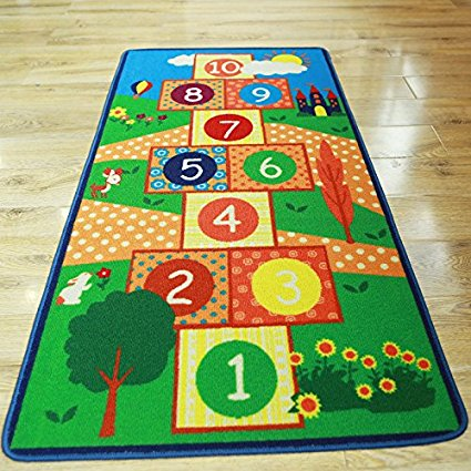Hopscotch Kids Rug Bedroom Blue Boy Children Carpet Girls Bedroom