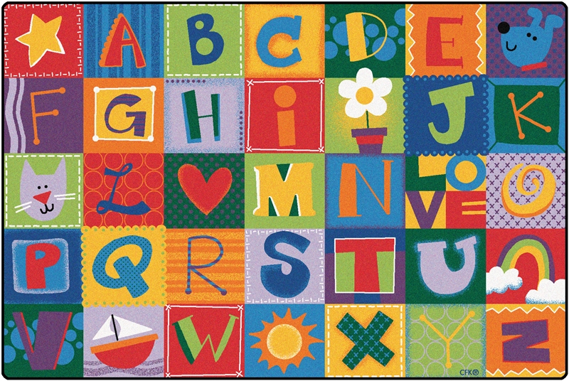 KIDSoft Toddler Alphabet Blocks Rug | Alphabet Area Rug for Kids