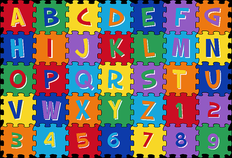 Mybecca Kids Rug Alphabet Puzzle 3' X 5' ABC Learning Carpet (39