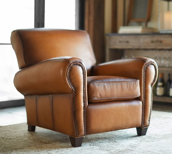 Manhattan Leather Armchair with Nailheads | Pottery Barn