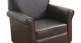Amazon.com: HomePop K3334-E155 Youth Leatherette Club Chair Dark