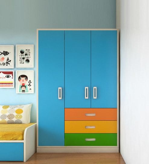 Buy Fiona Kids' Three Door Wardrobe with External Drawers in Azure