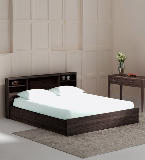 Buy Kaito King size Bed with Box Storage in Wenge Finish by Mintwud