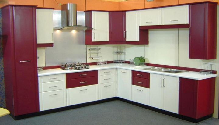 Maroon and White Kitchen Cabinets Design Ideas | Kitchen Design