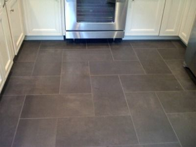 Kitchen floor tile: Slate like ceramic floor - I like the pattern