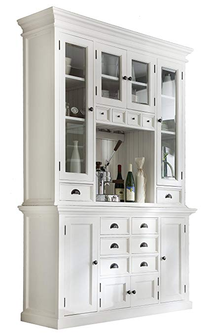Amazon.com: NovaSolo Halifax Pure White Mahogany Wood Hutch Cabinet