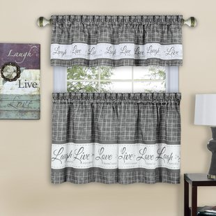 Gray & Silver Kitchen Valances & Kitchen Curtains You'll Love | Wayfair