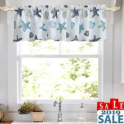 Amazon.com: oremila Kitchen Curtain Valance Multicolor Starfish