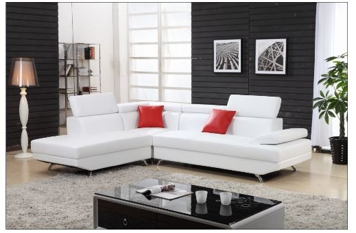 White Sectional sofa with chaise | Leather sectional | L shaped