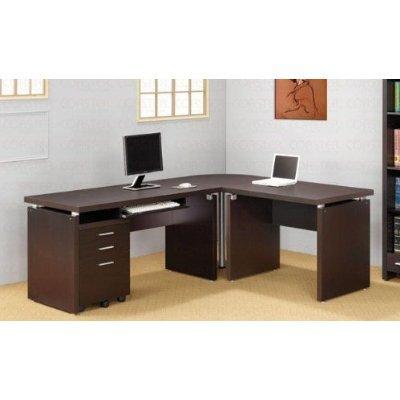 Amazon.com: L-Shaped Computer Desk in Cappuccino Finish: Kitchen