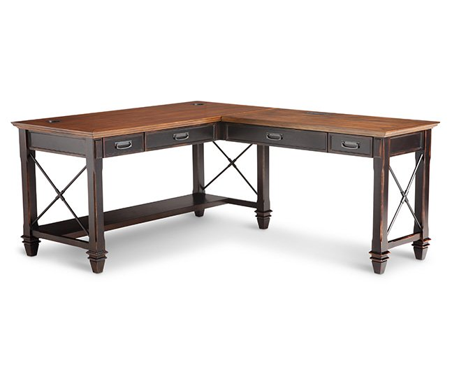 Hartford Pedestal L-Shaped Desk - Furniture Row