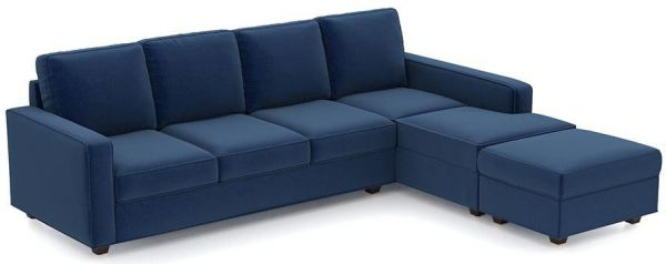 L-Shaped Sofa Bed, Suede Blue - 250 x 200 cm | Souq - UAE