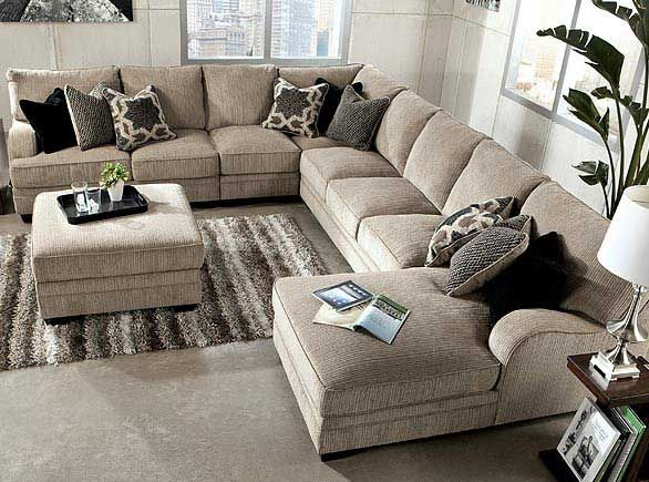 Ashley Furniture:Cosmo- marble 3 piece, RAF sectional sofa Chaise