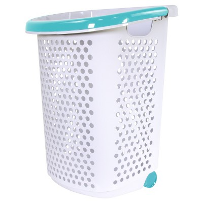 Home Logic Rolling Laundry Hamper With Handles White/Teal - Room