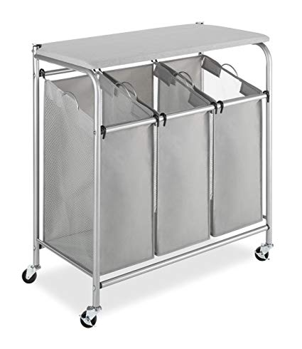 Amazon.com: Whitmor 3 Section Rolling Laundry Sorter with Folding