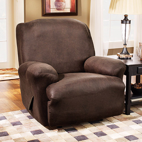 Sure Fit Stretch Leather Recliner Slipcover, Brown - Walmart.com