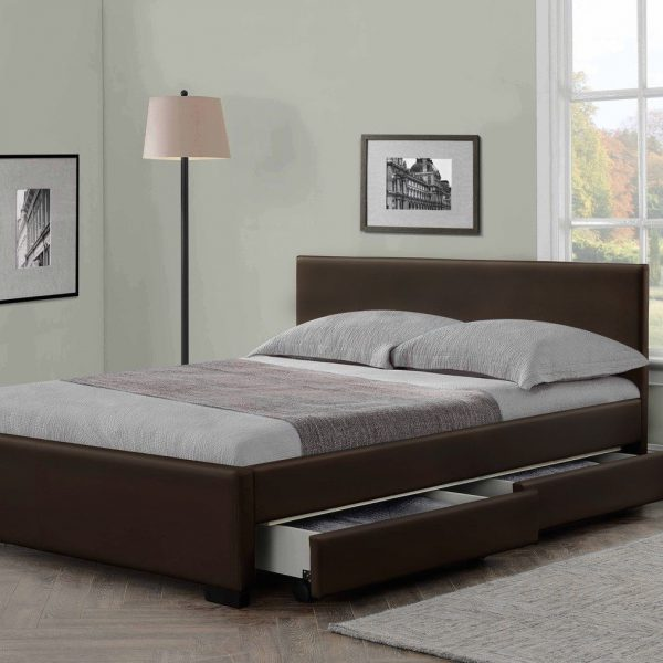 Modern Italian Designer 4 Drawer Leather Bed - Luxury Leather Beds