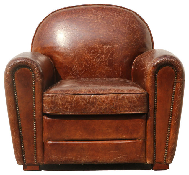 Pasargad Genuine Leather Paris Club Chair - Transitional - Armchairs