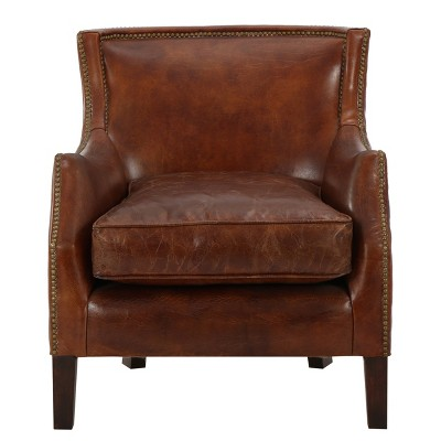 Njord Vintage Leather Club Chair - Light Brown - Christopher Knight