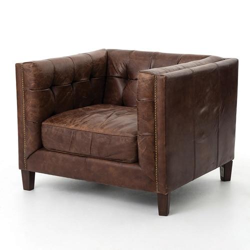Abbott Vintage Cigar Tufted Leather Club Chair | Zin Home