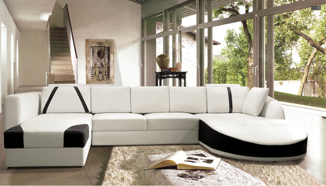 Sofa set living room furniture Modern Leather corner sofas with U