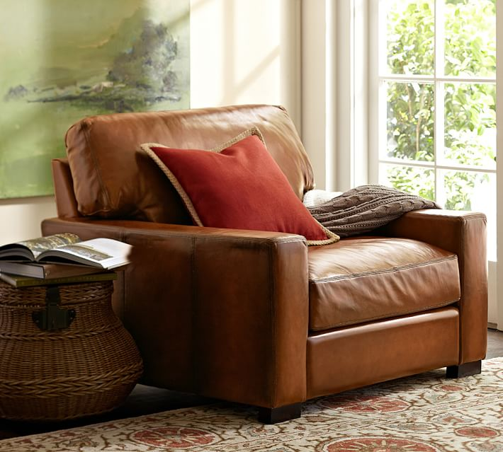 Turner Square Arm Leather Armchair | Pottery Barn