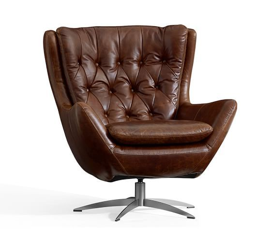 Wells Leather Swivel Armchair | Leather Club Chairs & Leather Chairs