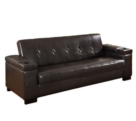 Logan Faux Leather Futon Sofa Bed - Page 1 u2014 QVC.com