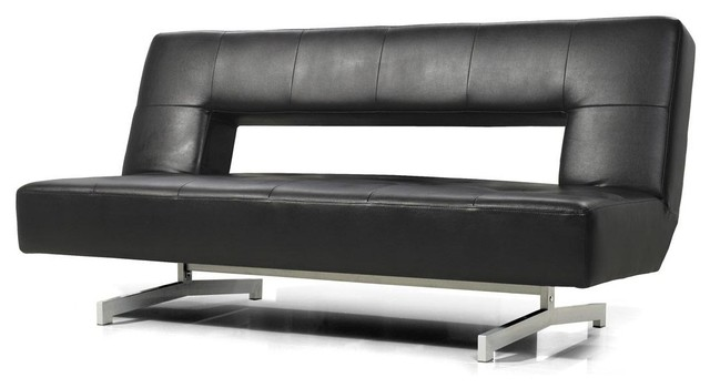 Black Eco-Leather Sofa Bed - Modern - Futons - by New York Furniture