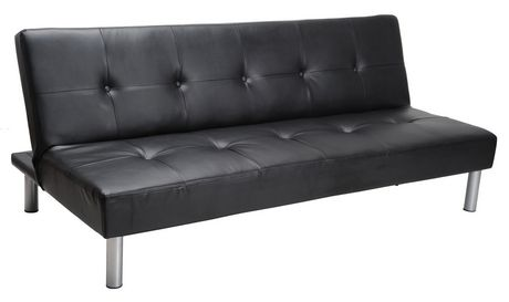 MAINSTAYS Faux Leather Sofa Bed - Black | Walmart Canada