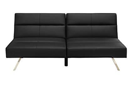 Amazon.com: DHP Studio Convertible Futon Couch, Black Faux Leather