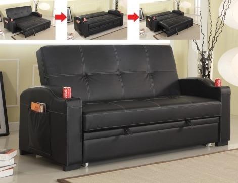 S164 Black leather like vinyl upholstered folding futon sofa bed