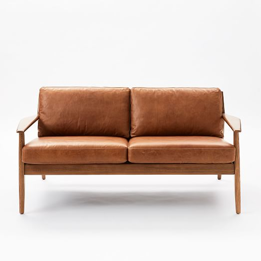 Mathias Mid-Century Wood Frame Leather Loveseat (66