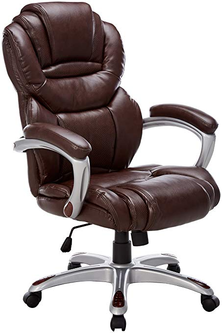 Amazon.com: Flash Furniture High Back Brown Leather Executive Swivel