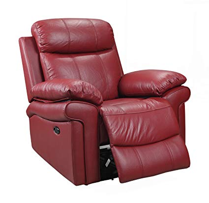 Amazon.com: Oliver Pierce OP0042 Hudson Leather Power Recliner Red