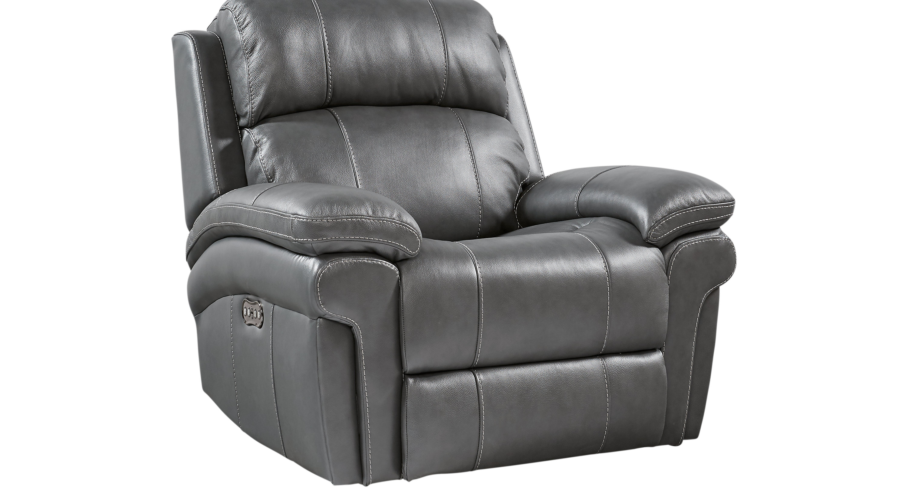 $799.99 - Trevino Smoke Leather Power Recliner - Reclining