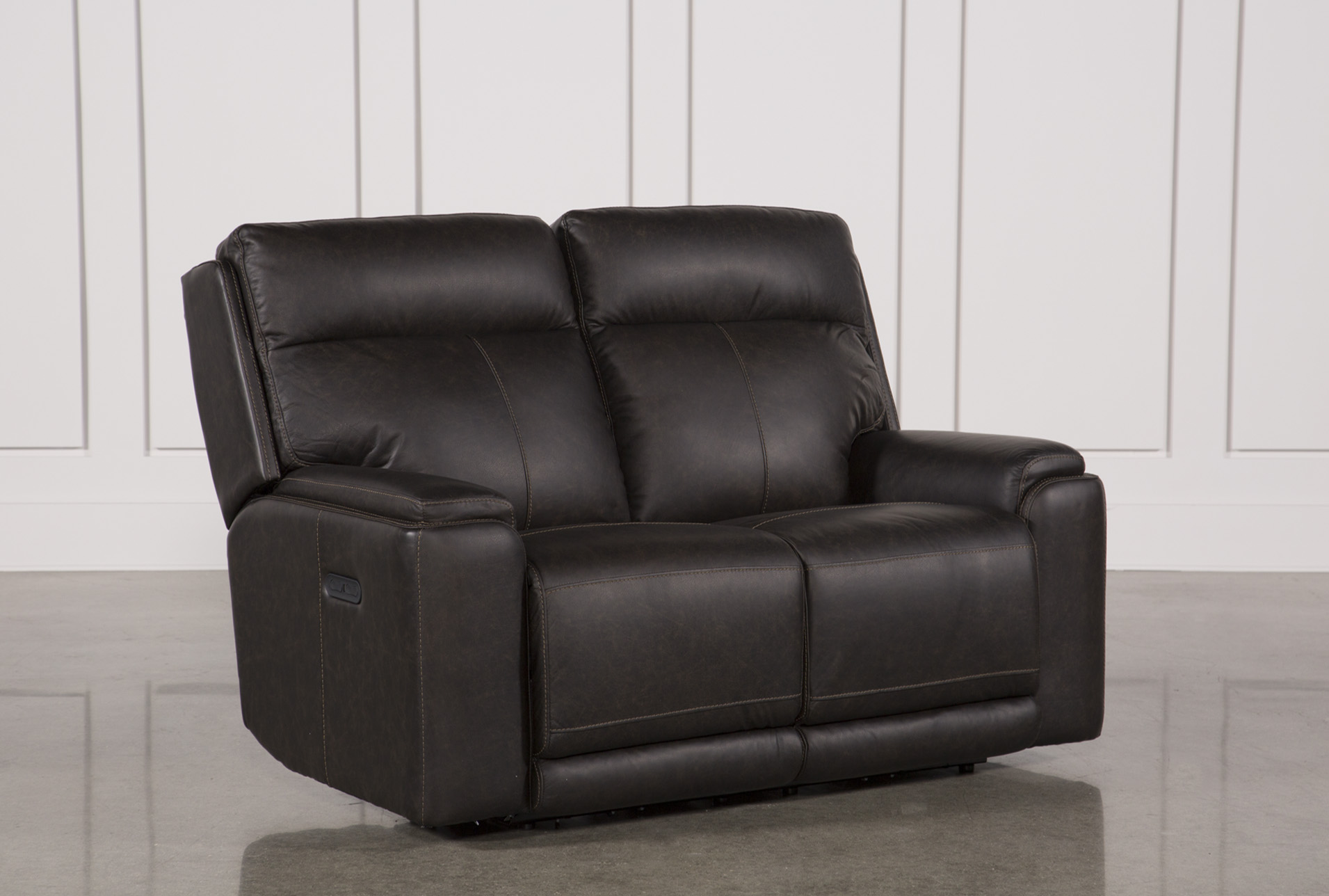 Sinjin Leather Power Reclining Loveseat W/Power Headrest | Living Spaces