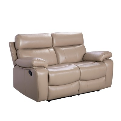 Cameron Leather Reclining Loveseat Beige - Abbyson Living : Target