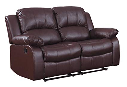 Amazon.com: Homelegance Double Reclining Loveseat, Brown Bonded