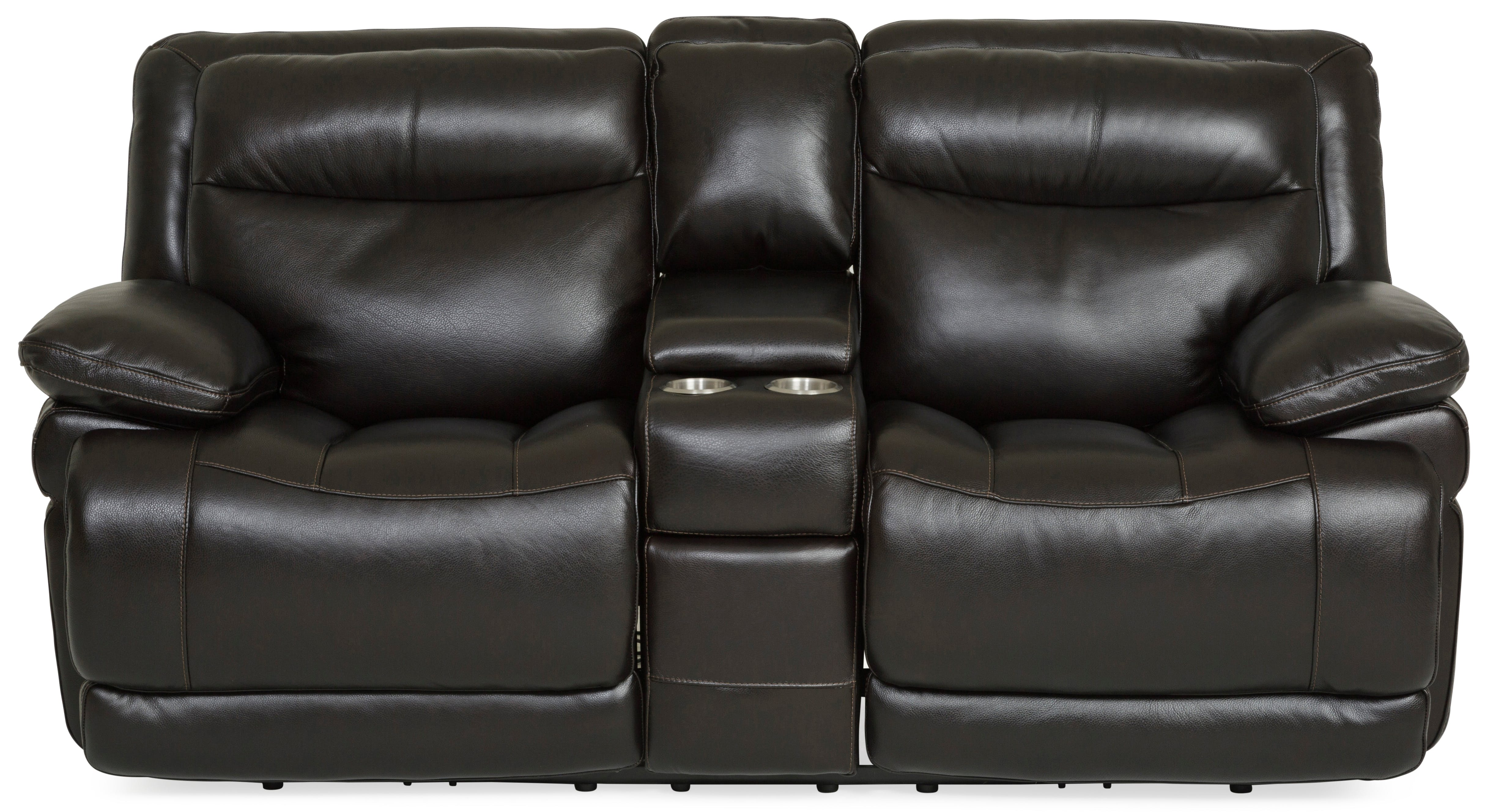 Living Room Longhorn Leather Power Reclining Loveseat - BLACKBERRY