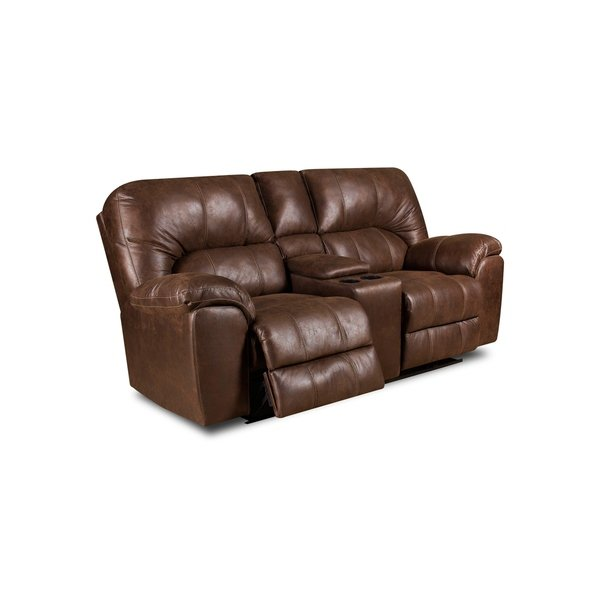 Shop Beaumont Faux Leather Reclining Loveseat (Brown/ Grey) (Manual